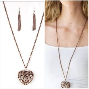 VICTORIAN VIRTUE COPPER NECKLACE/EARRING SET